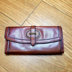 FOSSIL LONG LIVE VINTAGE WALLET CC ID BILLS COINS BROWN LEATHER $34.99