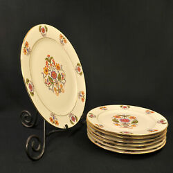 Rs Germany Serving Plate And 6 Dessert Plates Stylistic Floral In Urn 1910-1945