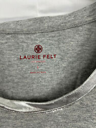 Laurie Felt Womenand039s U-neck Tee Shirt With Contrast Foil In Grey Size L