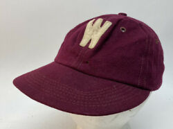Vintage 60s Baseball Cap W Wool Maroon Stitched Hat 7-7 1/4 Little League Ll