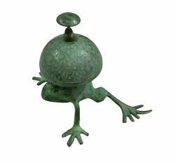 Antique Vintage Green Frog Style Brass Desk Bell Hotel Counter Reception Bell