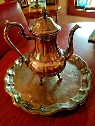 Sheridan Silver Plated Tea Pot And Serving Tray            1952