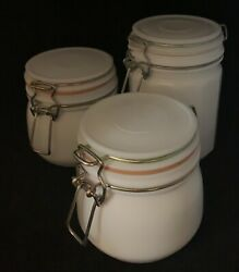 3 Vintage Milk Glass Canisters Jars With Bale And Rubber Gaskets