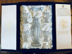 Faberge Czarina Imperial Collection Crystal Vodka Decanter With 4 Glasses