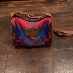Pendleton Red Navajo Small Wool Purse/ Travel Bag With Leather Strap