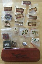 Set Of 18 Rodeo Grand National Pins And Set Of 2 Pens In Wooden Box Cow Palace