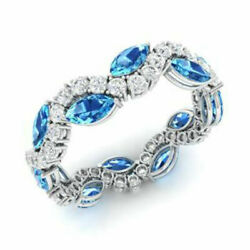 3.40 Ct Real Diamond Gemstone Topaz Round Bands Solid 18k White Gold Size N M P