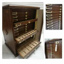 Money Chest Medals Table In Real Wood And Velvet Italian 15 +1 Drawer