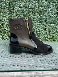 1600 Nib Authentic Leather Suede Boots Brown Black 37 7