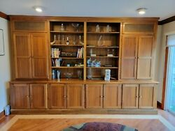 Custom Built 12and039 Oak Wall Unit.andnbsp Shelving For Display And Storage