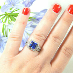 3.20 Ct Real Blue Sapphire Gemstone Ring Solid 950 Platinum Diamond Rings Size 9