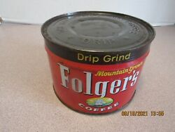 Vintage Sealed Folgers Coffee Can Tin Sealed With Key Full 1lb Unopened