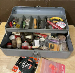 Vintage Buddy Tackle Box W/ Lures Hooks Accessories Etc