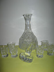 Cut Glass Liquor Decanter With Stopper And Six Matching Shot Glasses
