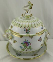 Herend Victoria Green Gold Trim 3pc Dolphin Tureen 4qt Led Underplate Rare 6541