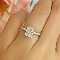 Real 1.05 Ct Radiant Cut Diamond Engagement Ring Solid 14k White Gold Size 5 6 7