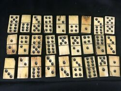 1865 Antique Dominoes Ebony Bone Hand Made 27 Piece With Personal Note