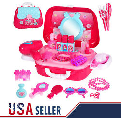 Pretend Play Cosmetic and Beauty Makeup Toy Set Kit for Little Girls amp; Kids $16.99