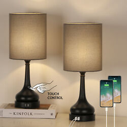 2 Pack Table Bedside Lamps With Touch Control 2 Usb Charging Ports For Bedroom