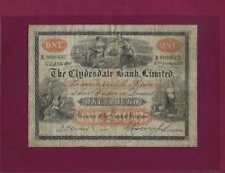 Scotland Clydesdale Bank 1 Pound 1917 P-181 Vf Rare Great Britain Uk