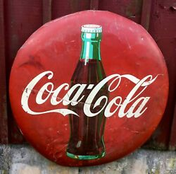 Barn Find Large Weathered Coca Cola Button Sign Pick Up Only Cape Cod