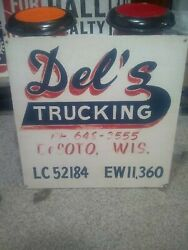 Vintage Wooden Del's Trucking Company Sign Desoto Wi Wis Wisconsin 2'x2' Plywood