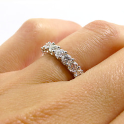 Eternity 2.00 Ct Diamond Ladies Engagement Band Solid 14k White Gold Size 6 7 8