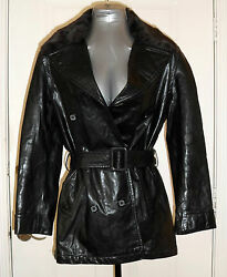 New ANDREW MARC Black Soft LEATHER JACKET SZ S Faux FUR Collar Belted Coat $79.95