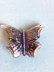Collectible Fenton Signed Hand Painted Amethyst Irridescent Butterfly Figurine
