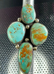 Native American 925 Sterling Silver Turquoise Ring 39.2 Grams Size 6.5