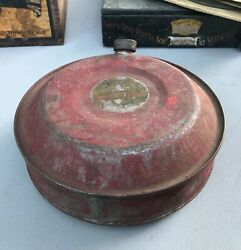 Antique E. 1900s Motorcycle Automobile Spare Gas Canteen Tank Red Paint Indian