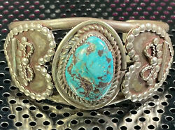 Handmade Native American 925 Sterling Silver Turquoise Cuff Bracelet 52.6 Grams