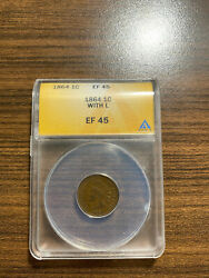 1864-p L On Ribbon Indian Head Penny Cent 1c Anacs Xf 45 Ef 45 Type 3, Bronze