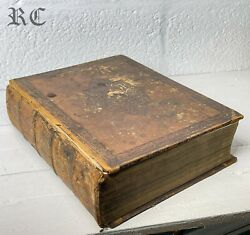 Antique Victorian Large Leather Illustrated Family Holy Bible By Rev. John Brown
