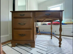 Antique Solid Wood Desk And Wood Chair