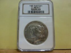 1921 Ngc Ms-64 High Relief Peace Silver Dollar 006