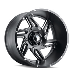 22 Inch 6x139.7 Wheels Rims Black Milled -44mm American Truxx Spurs At186