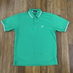 FRED PERRY POLO SHIRT MENS LARGE GREEN COTTON NO SIZE TAG $29.95