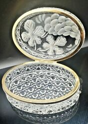 Vintage Jewelry Trinket Box Clear Cut Crystal Etched Frosted Floral Fruit Hinge