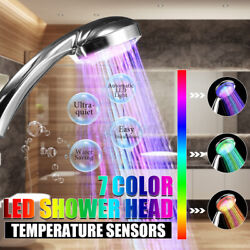 Automatic 7 Colors Water Led Light Shower Head Spray Bathroom High Pressur Us