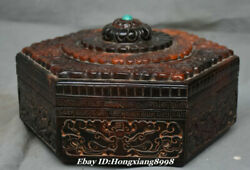 8.6 Old China Ox Horns Turquoise Carving Dynasty Lotus Jewelry Box Jewel Case