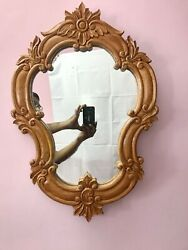 Indian Hard Wood Mahogany Wooden Framed Vanity Mirror Home Decor Collectible