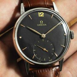 Authentic 1947and039 Omega Steel Manual Wind Cal 30t2 Vintage Gents Watch Black Dial