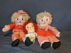 Raggedy Anne And Andy Plush Dolls Vintage