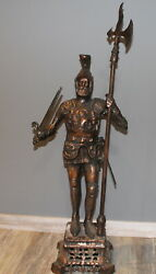 Large Hand Made Bronze Plated Metal Statue Knight With Halberd And Sword Signed
