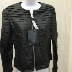 Philipp Plein Couture Womens Leather Jacket Black Zip Up Crew Neck Studded L New $222.29