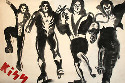 Vintage Gouache Painting Kiss Rock Band Poster