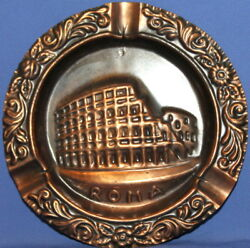 Vintage Italian Ornate Copper Wall Hanging Plate / Ashtray