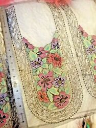 Antique Vintage Fine Embroidered Tulle Lace Panels With Metallic. May Be Wool