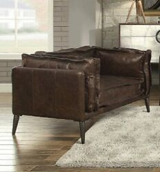 Acme Porchester Chair In Distress Chocolate Top Grain Leather Finish 52482